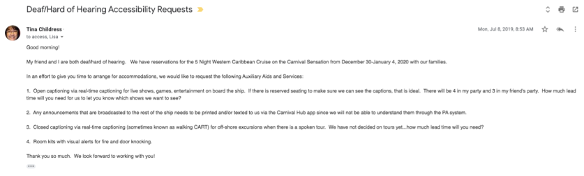 Carnival initial email